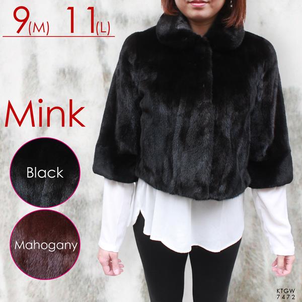 ミンク 毛皮ジャケット レディース ブラック M/L 7472