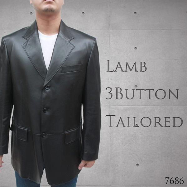 日本製 高級ラム革(ラムナッパ) 3つボタン テーラード レザージャケット 7686[レザー ジャケット]