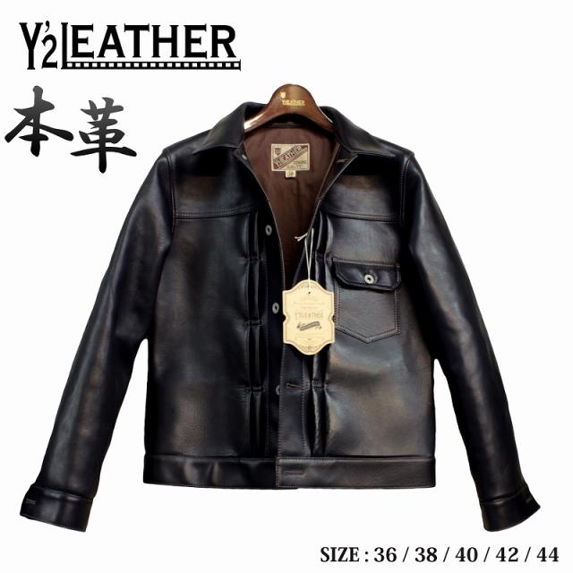 Y'2 LEATHER EB-140 馬革 革ジャン メンズ ホースハイド レザージャケット ブラック 36/38/40/42/44