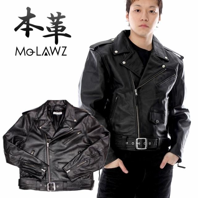 ●新作●Mo-Lawz メンズ レザーライダース メンズ レザーダブルライダース ジャケット(USタイプ) MLRJ003