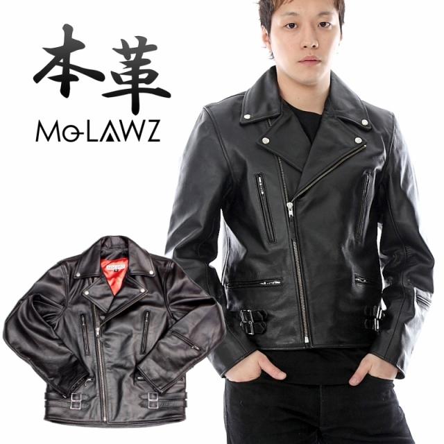 ●新作●Mo-Lawz メンズ レザーライダース メンズ レザーダブルライダース ジャケット(UKタイプ) MLRJ004