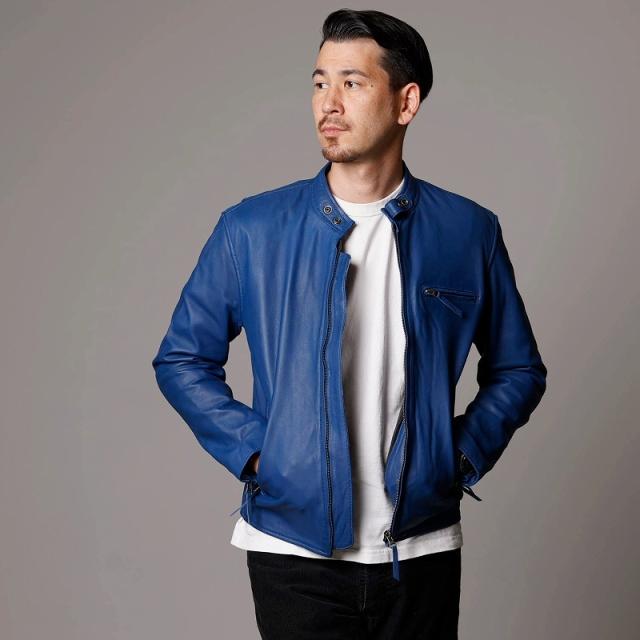 ラム革シングルライダースジャケット ブルー