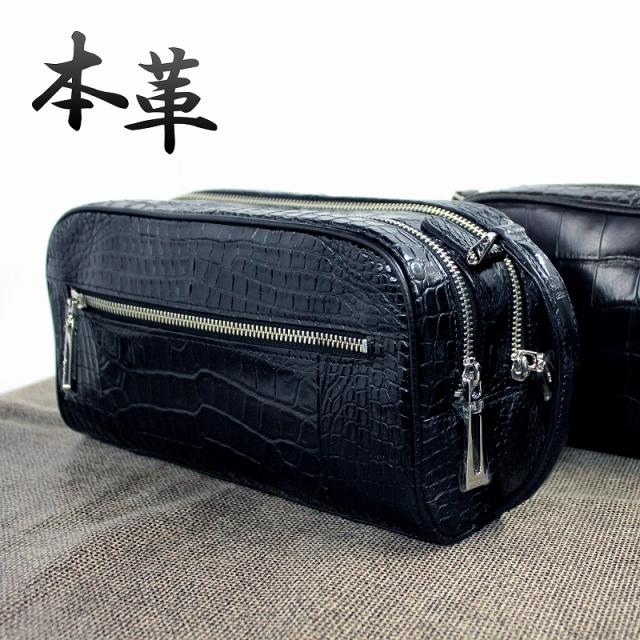 日本製 クロコダイル セカンドバッグ バッグ ブラック o-4269