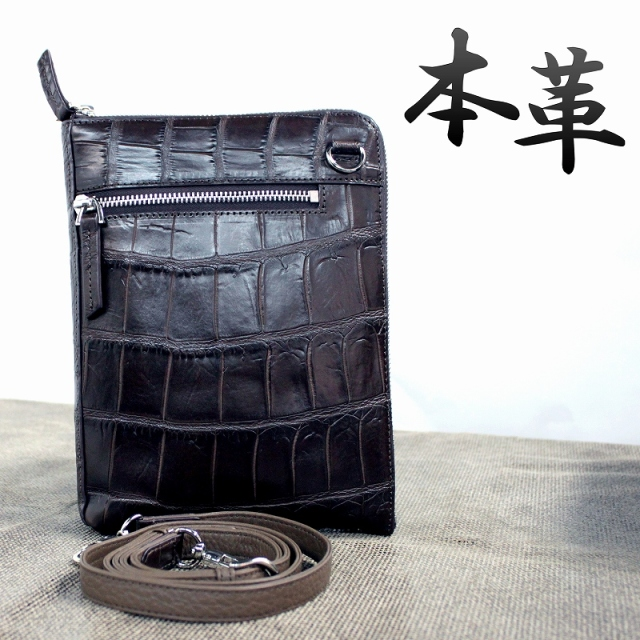 クロコダイル メンズ 本革 レザーバッグ ショルダーバッグ セカンドバッグ 鰐皮 ワニ エキゾチックレザー o-b-231