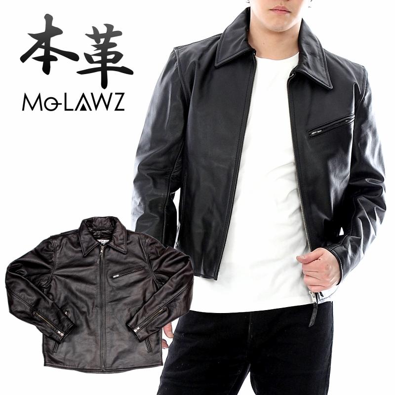 Mo-Lawz メンズ ライダース メンズ レザーライダース トラッカーレザージャケット MLRJ002