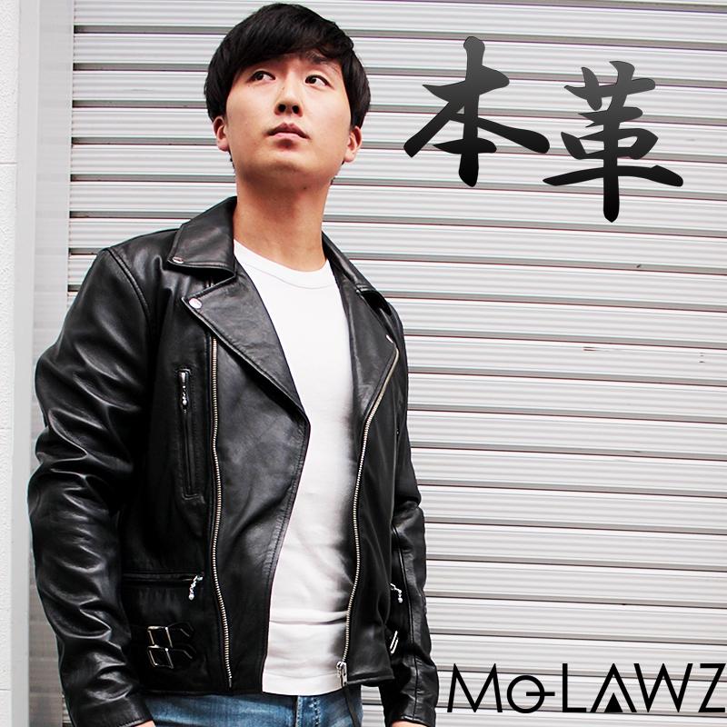 Mo-Laws ラム革 ダブルライダースジャケット UK メンズ ブラック/ネイビー S/M/L/LL/3L/ mlrj0444