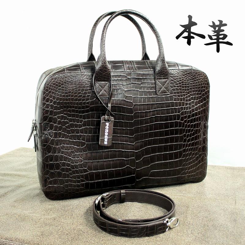 最高級クロコダイル ポロサス メンズ 本革バッグ ビジネスバッグ A4 ブリーフケース スモールクロコダイル 0-4893