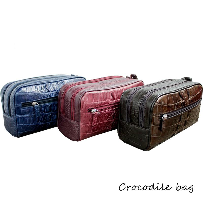 クロコダイル セカンドバッグ メンズ ブラック/ニコチン/ネイビー/ワイン o-529cr
