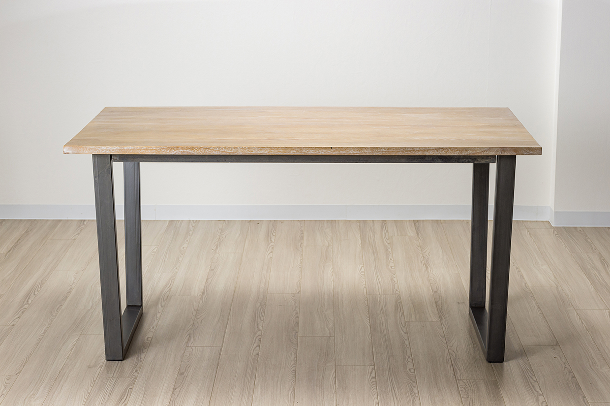 バリカフェ グレーホワイトウォッシュ ダイニングテーブル