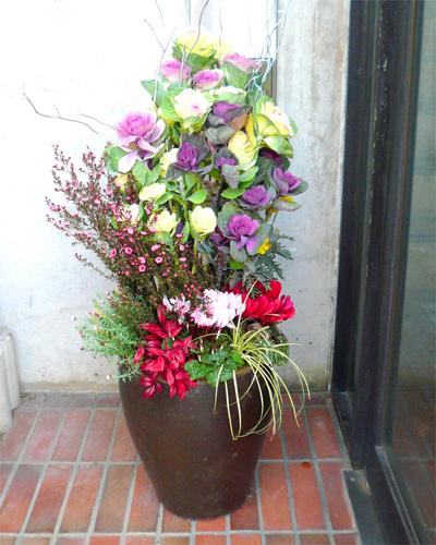 早割り迎春用 花いっぱいの和モダン花鉢【お歳暮迎春ギフト送料無料】