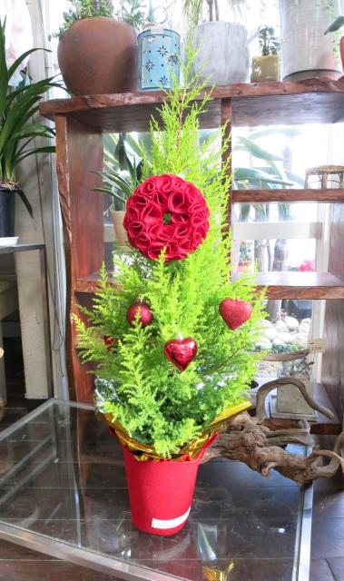 ☆~Merry X'mas~☆真っ赤なリースが付いたフェルトカバーのクリスマスツリー