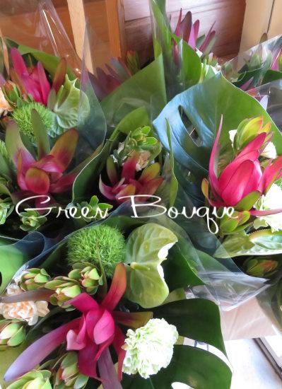 0425夏の御祝いにおすすめグリーンたっぷりの花束【観葉倶楽部グリーンブーケ】