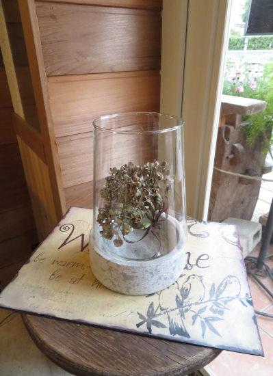 0432観葉植物ギフト ストーングラス(紫陽花ドライフラワー)