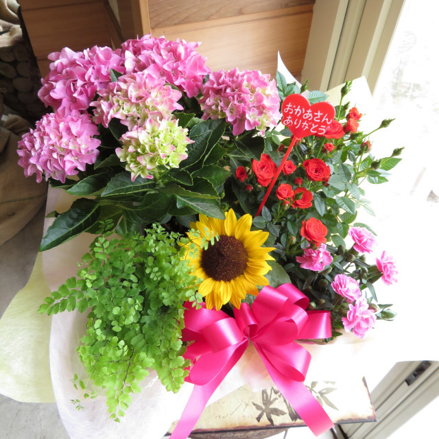 ピンクのアジサイの大きな花かご【送料無料母の日ギフト】18md004