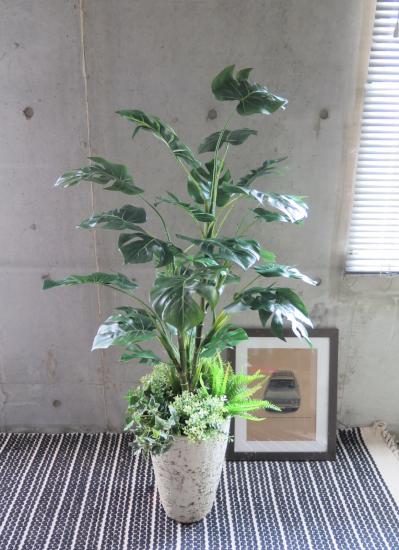 0478フェイクグリーン観葉植物ギフト モンステラ寄せ植え(軽量おしゃれ鉢使用)