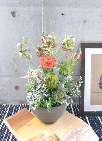 0481フェイクグリーン観葉植物ギフト グロリオサのワイルドアレンジ