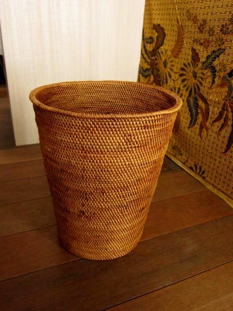 アタ製くずかご/観葉植物の鉢カバー(円すい形ラージサイズ・蓋無し・平編み)AT165