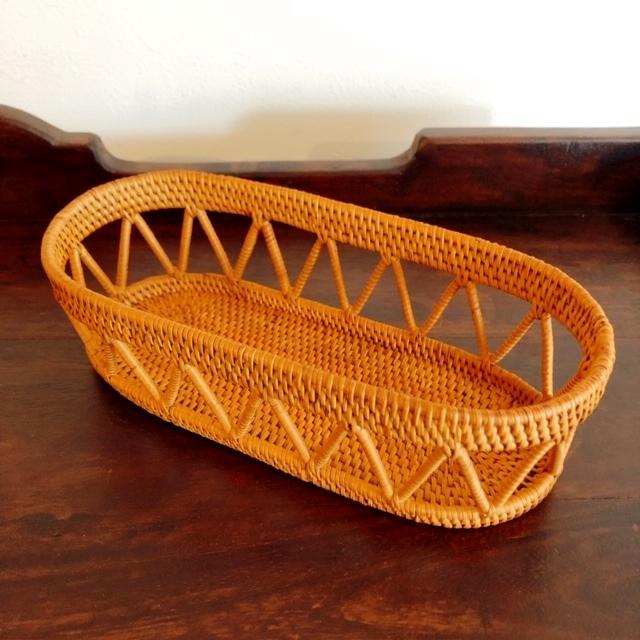 アタ製・楕円形の小物入れ・おしぼり入れ・収納ケース(透かし編み)AT201