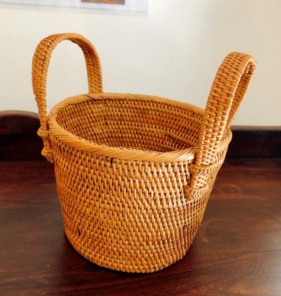 【アウトレット】アタ製・両持ち手付きバスケット/鉢カバー(平編み)AT206a