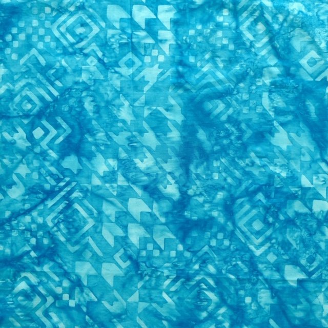 バティック・クロス(ジャワ更紗 バティック・チャップ/型押し染めバティック ブルー・幾何学模様)BT165