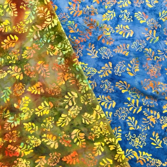 バティック・クロス(ジャワ更紗 バティック・チャップ/型押し染めバティック 植物・リーフ柄 2種類 グリーン/ブルー)BT190