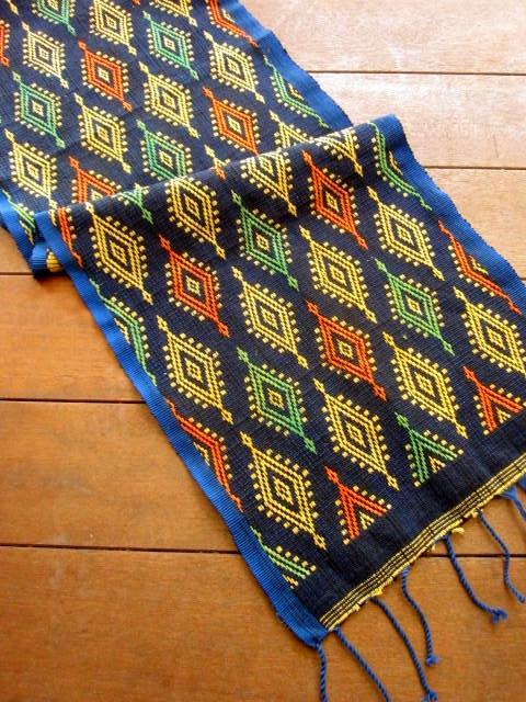 バリ島のソンケット(浮き織り)製タペストリ/テーブルセンター(ブルー・幾何学模様)SK010