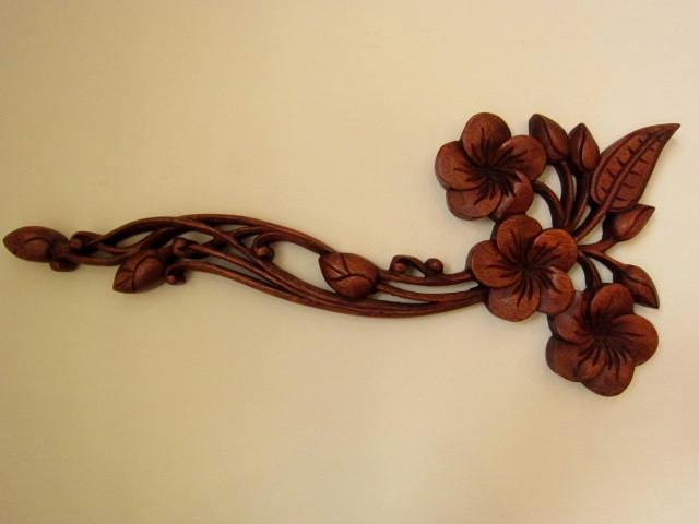 木彫りプルメリアのレリーフ(ブラウン)WT002