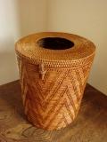 アタ製 ふた付き円形筒型くずかごボックス(直径20cm×高さ25cm・模様編み)AT090