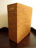 アタ製マガジンボックス(A4・雑誌サイズ/平編み・持ち手付き/幅約10cmタイプ)AT118