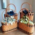 アタバッグM(模様編み・ココナッツの飾り/内布・型押し染めバティック 4種類 ライトグリーンアラベスク/グリーンドット/ネイビー&ピンク/ネイビー植物柄)AB171