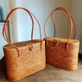 蓋付きアタバッグL(模様編み/内布・型押し染めバティック2種類 オレンジ花柄/パープル木の実)AB172