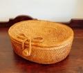 アタ製ふた付きオーバルボックス(楕円形・アタのリボン留め/平編み)AT189