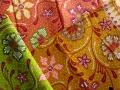 バティック・クロス(プリントバティック バリ島花柄 ピンク/ライトグリーン/茶黄色)BT079