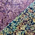 バティック・クロス(ジャワ更紗 バティック・チャップ/型押し染めバティック2種類 ローズ柄 パープル/ネイビーブルー)BT131