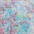 バティック・クロス(ジャワ更紗 バティック・チャップ/型押し染めバティック スカイブルー・野菜&くだもの)BT139