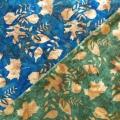 バティック・クロス(ジャワ更紗 バティック・チャップ/型押し染めバティック リーフ柄2種類 ブルー・カーキ/濃緑・カーキ)BT144