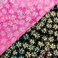 バティック・クロス(ジャワ更紗 バティック・チャップ/型押し染めバティック 花柄C 2種類 ピンク地/ブラック地)BT150