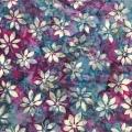 バティック・クロス(ジャワ更紗 バティック・チャップ/型押し染めバティック 灰青色&紫 花柄)BT186