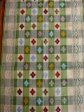 バリ島のソンケット(浮き織り)製テーブルランナー(ベージュ&グリーン チェック)SK004