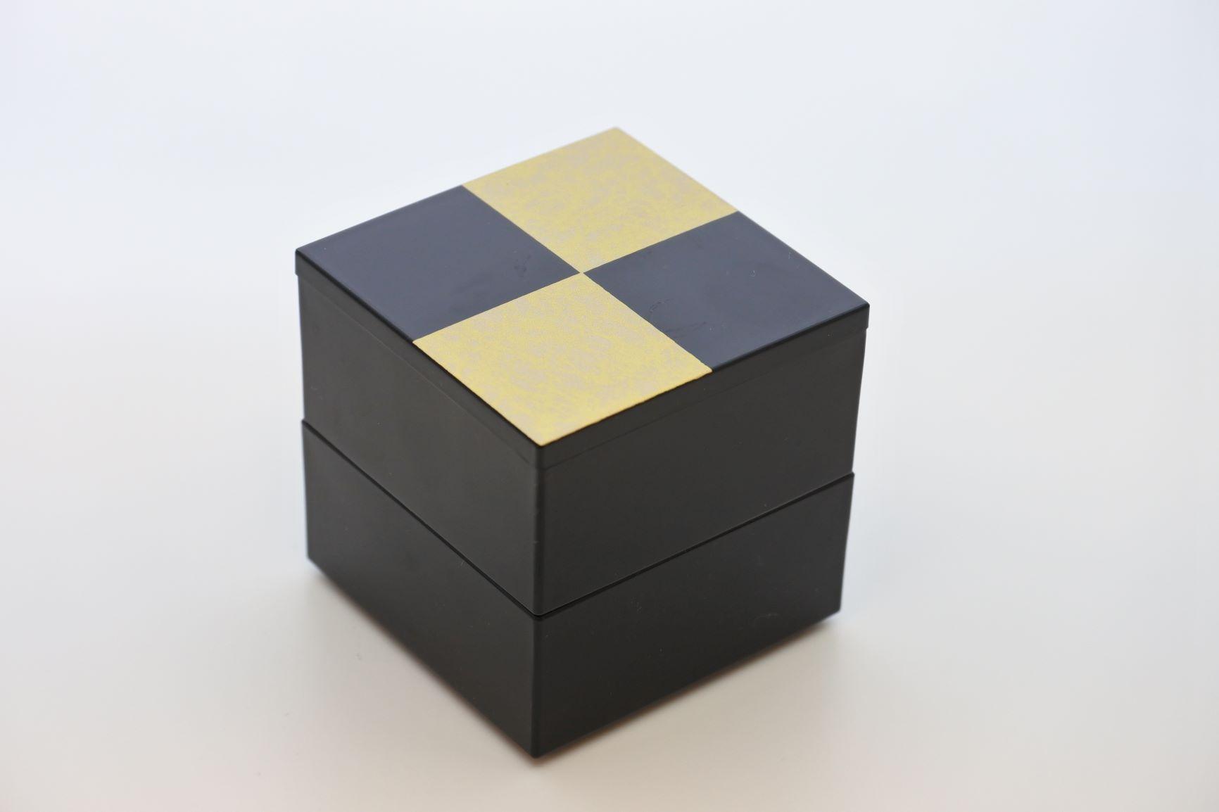 《新商品》JUBAKO/重箱/市松GOLD5.0二段中子重(黒)(A)KZ2962A≪Kaze-ya style≫