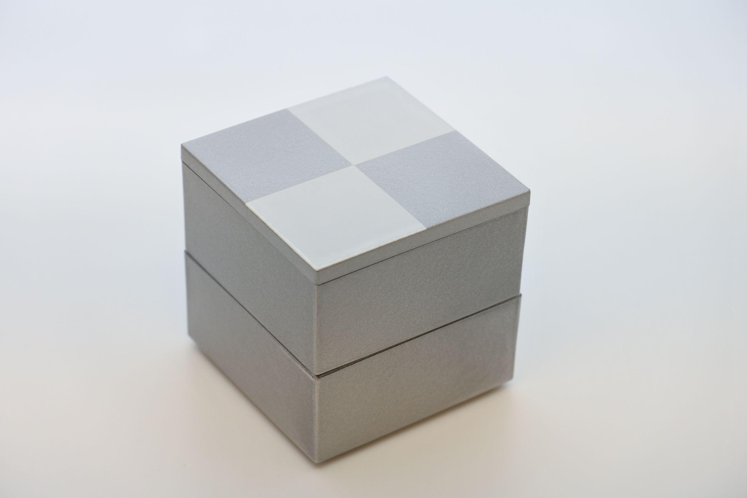 《新商品》JUBAKO/重箱/市松5.0二段中子重(銀)(A)KZ2974A≪Kaze-ya style≫