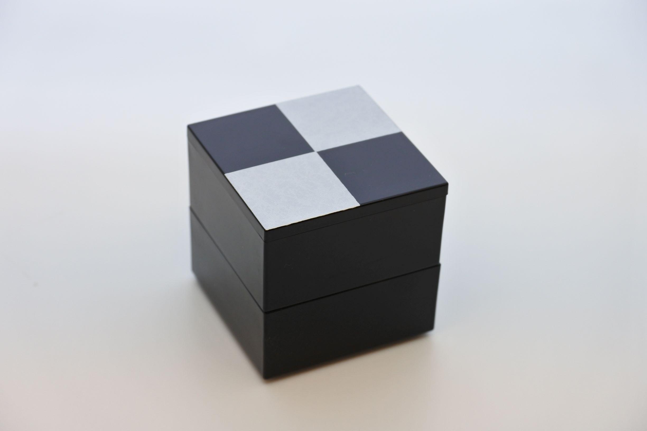 《新商品》JUBAKO/重箱/市松SILVER2.3二段中子重(黒)(A)KZ2966A≪Kaze-ya style≫
