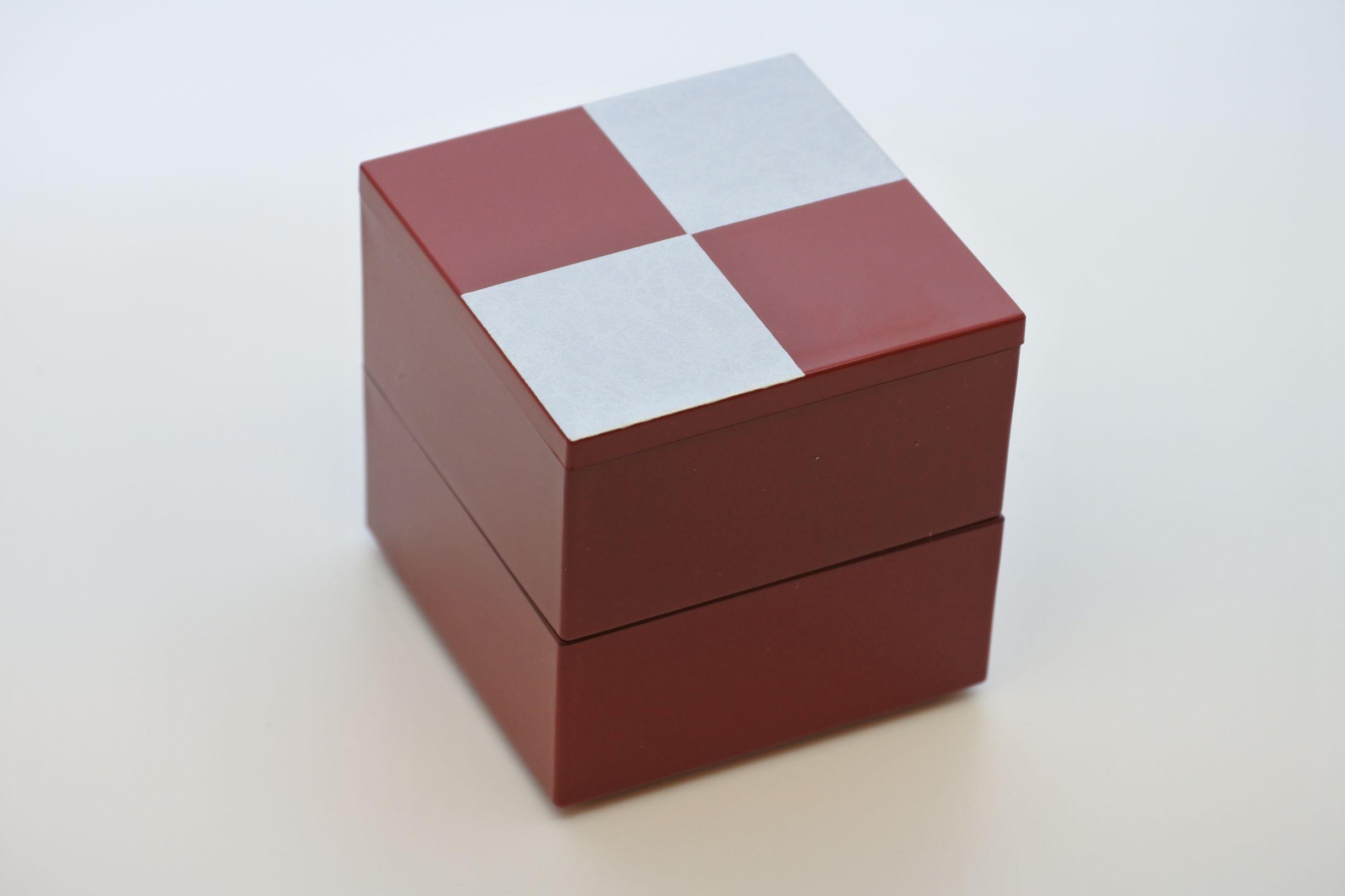 《新商品》JUBAKO/重箱/市松SILVER5.0二段中子重(朱)(A)KZ2968A≪Kaze-ya style≫