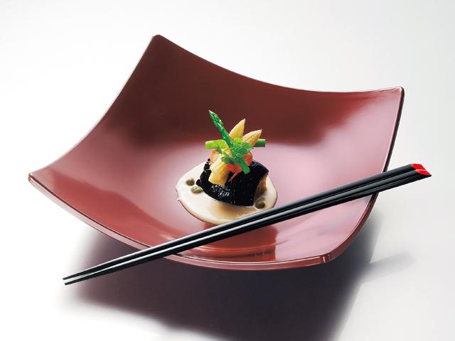 風華9.0角盛鉢(銀朱)(取箸付)<kaze-ya style>