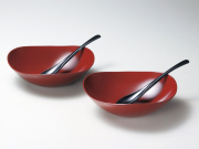 風華ペアカレー鉢セット(銀朱)(スプーン付)<新商品>