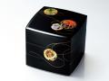 モダンな重箱:彩光てまり6.5胴張三段重(黒)