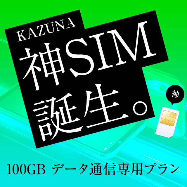 KAZUNA 神SIM 100GB データ通信専用 事務契約手数料