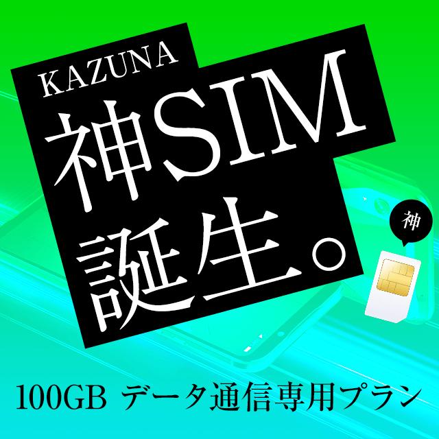 【会員価格】KAZUNA 神SIM 100GB データ通信専用プラン