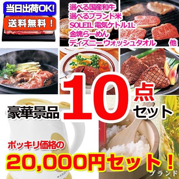 20000円ポッキリ!選べる国産和牛景品パネル&現品10点セットC(15417)