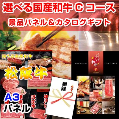 選べる国産和牛Cコース【A3景品パネル&カタログギフト付き目録】(wg142)